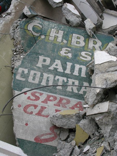 Lincoln Clarkes Photographs: Rubble Sign, Vancouver 2008