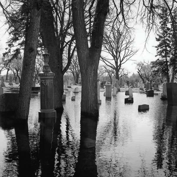 Lincoln Clarkes Photographs: Flooded cemetery, Winnipeg Manitoba 1997