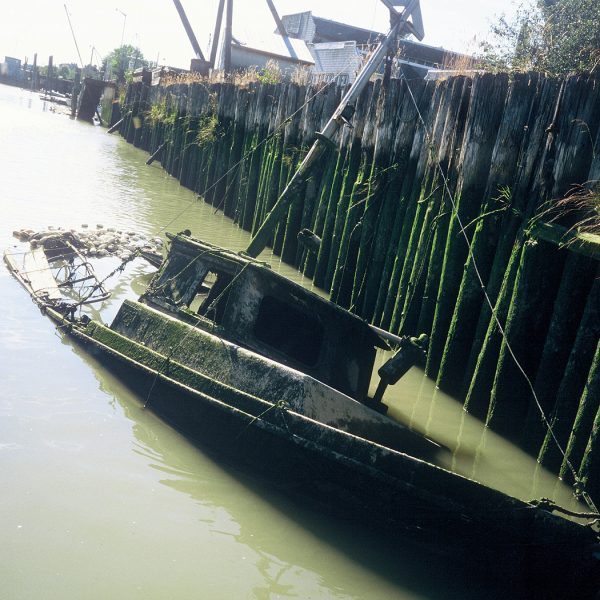 Lincoln Clarkes Photographs: Fishing boat sinking, Fraser River, British Columbia 2005