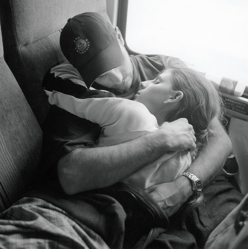 Lincoln Clarkes Photographs: Lovers on Greyhound Bus, Salmon Arm, British Columbia 2002