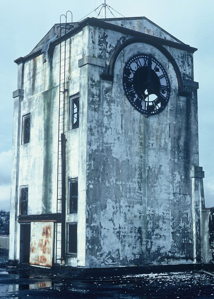 Lincoln Clarkes Photographs: Smashed clock tower, New Westminster, 1980