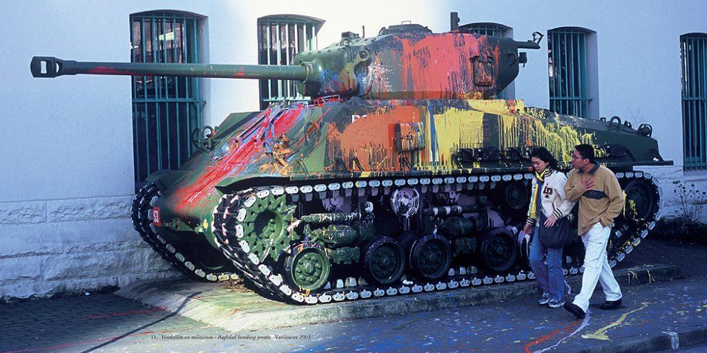 Lincoln Clarkes Photographs: Vandalism on Militarism, Vancouver 2003