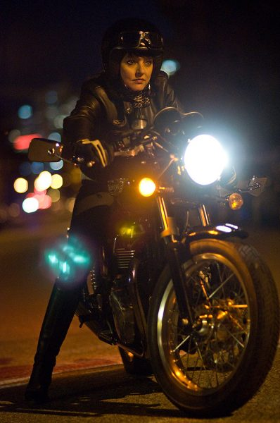 Lincoln Clarkes Photographs: Karen Porter on her Triumph Thruxton, Vancouver 2009