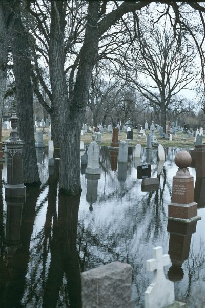 Lincoln Clarkes Photographs: Flooded cemetery, Winnipeg, Canada 1997