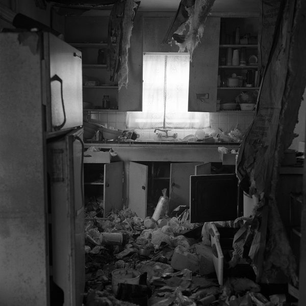 Lincoln Clarkes Photographs: Trashed kitchen/house, Houston Texas 2004